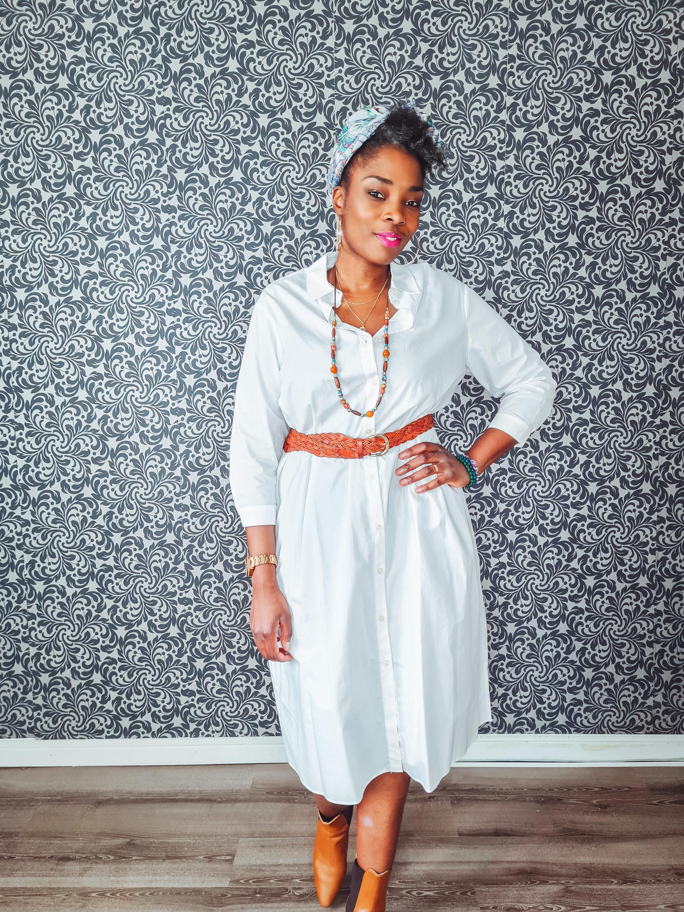 robe chemise+blanche+mango