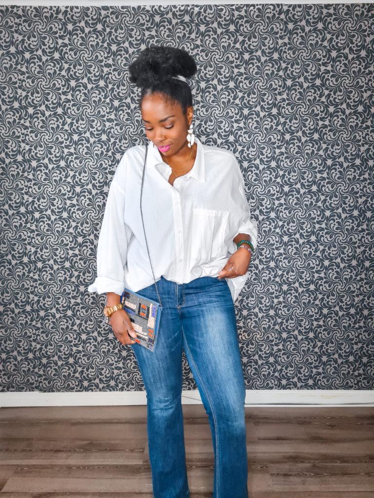chemise + jean flare brut